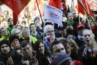 Ten of thousands of protestors attend a demonstration against the free trade agreements TTIP (Transatlantic Trade and Investment Partnership) and CETA (Comprehensive Economic and Trade Agreement) in B