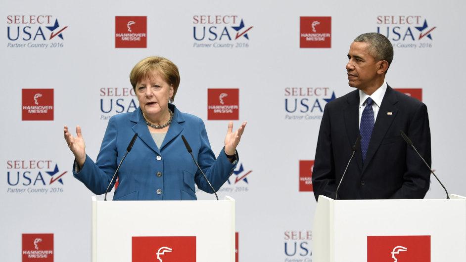 Obama, Merkelová, Německo, TTIP