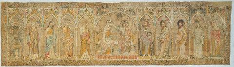 Antependium sKorunováním Panny Marie zmariánského kostela v Pirně, Praha, před rokem 1350, len, výšivka
