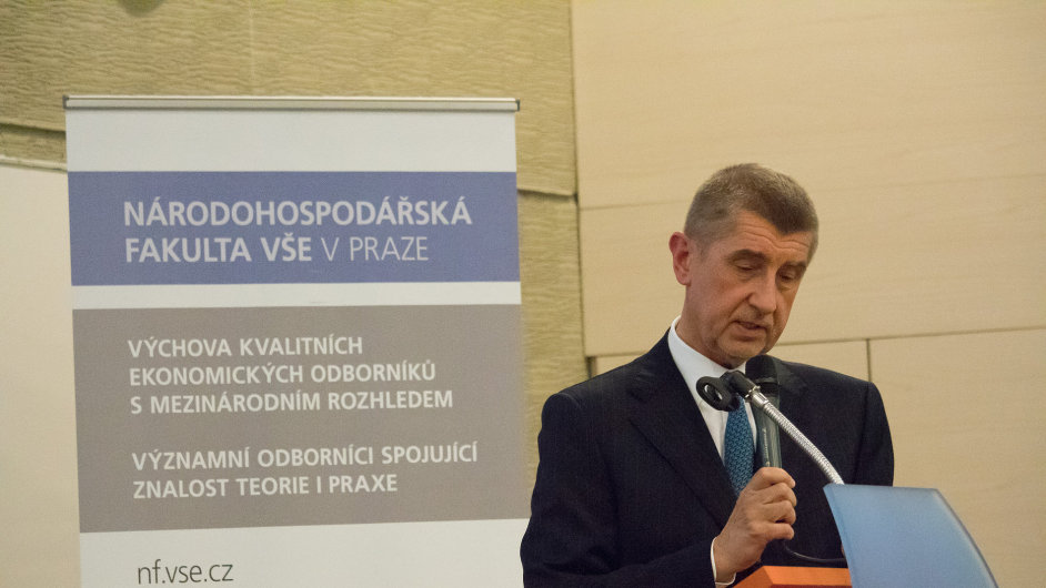 Ministr financí Andrej Babiš na VŠE.