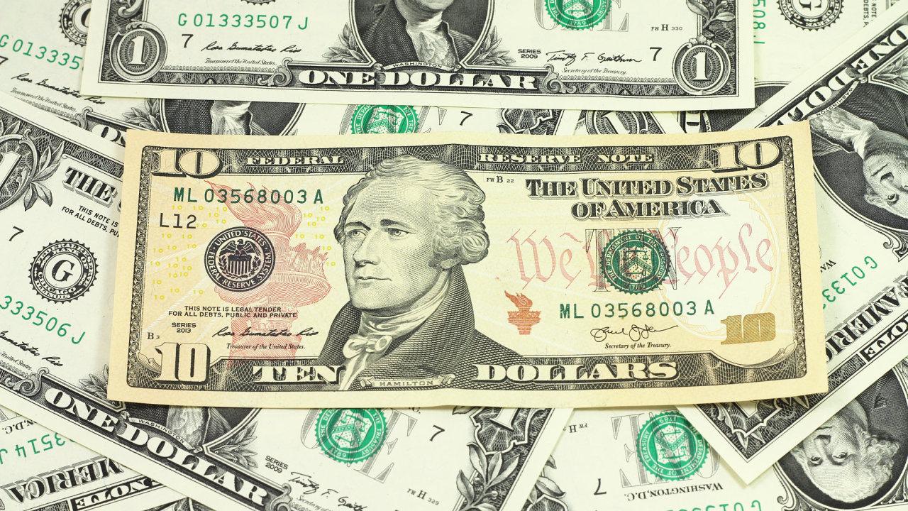 Americká desetidolarovka.