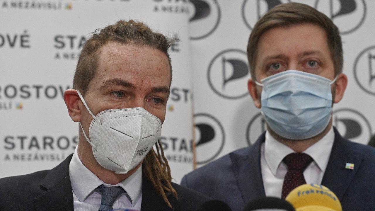 Briefing Pirátů a starostů k představení plánu na zvládnutí pandemie a vyjádření stanoviska pro hlasování o prodloužení nouzového stavu 11. února 2021 v Praze.