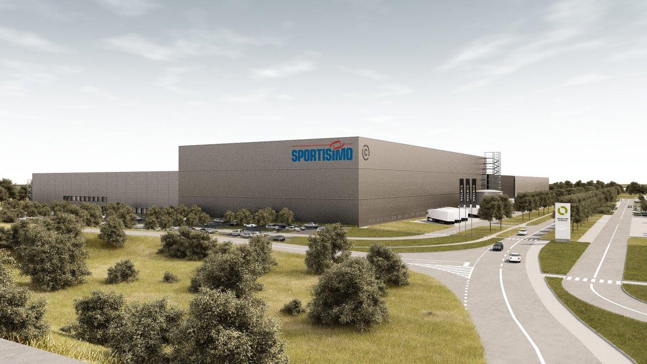 Contera park Ostrava u dálnice D1 (vizualizace). Užitná plocha haly pro Sportisimo bude díky pětipatrovému mezaninu zhruba 140 tisíc metrů čtverečních.