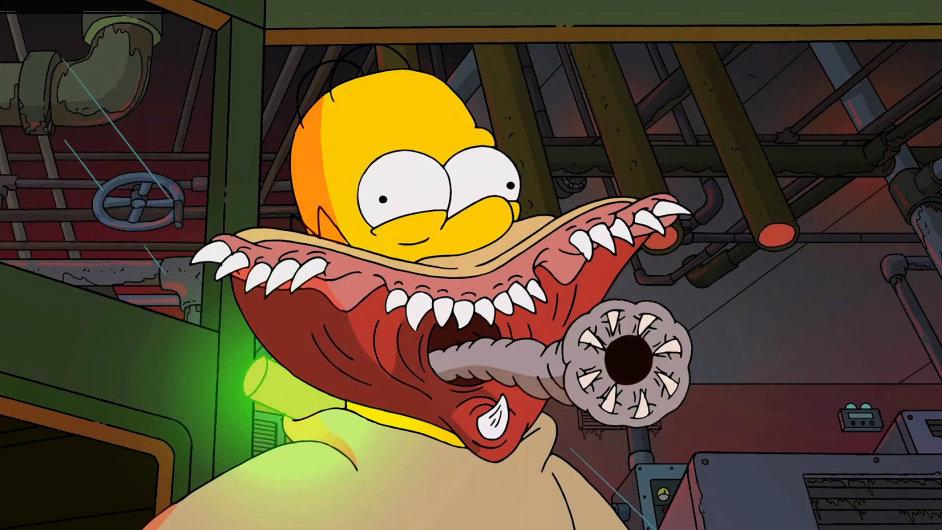 Strašidelný Homer z hororové znělky k Simpsonům