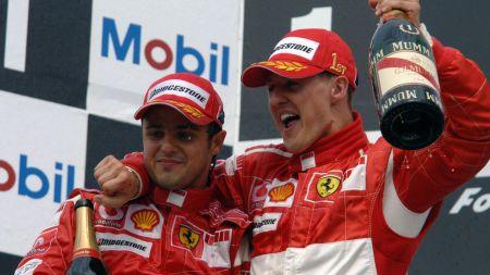 Felipe Massa a Michael Schumacher na stupních vítězů po Velké ceně Německa 2006