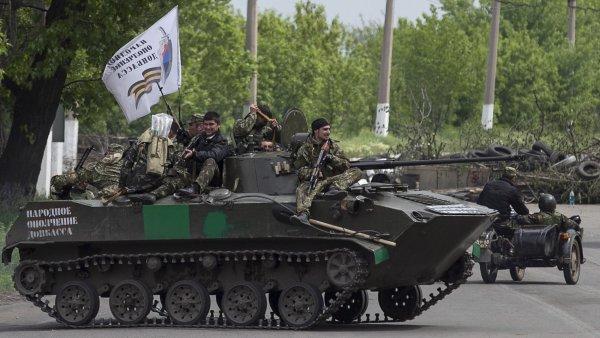 Obrněné vozidlo proruských ozbrojenců ve Slavjansku