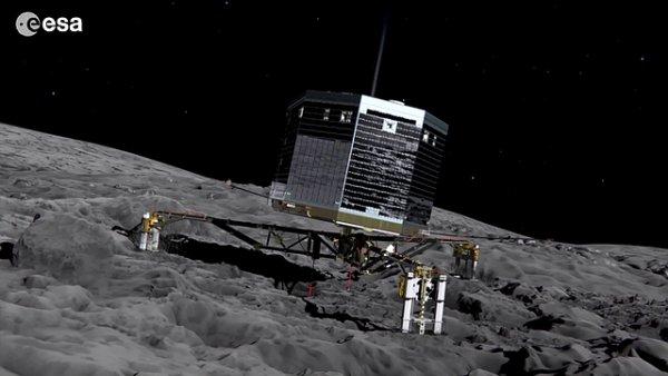 Poda�ilo se nav�zat spojen� s havarovan�m p�ist�vac�m modulem Philae le��c�m na povrchu komety 67P.