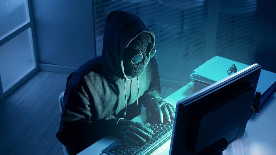 Hacker, kybernetický útok, ilustrace