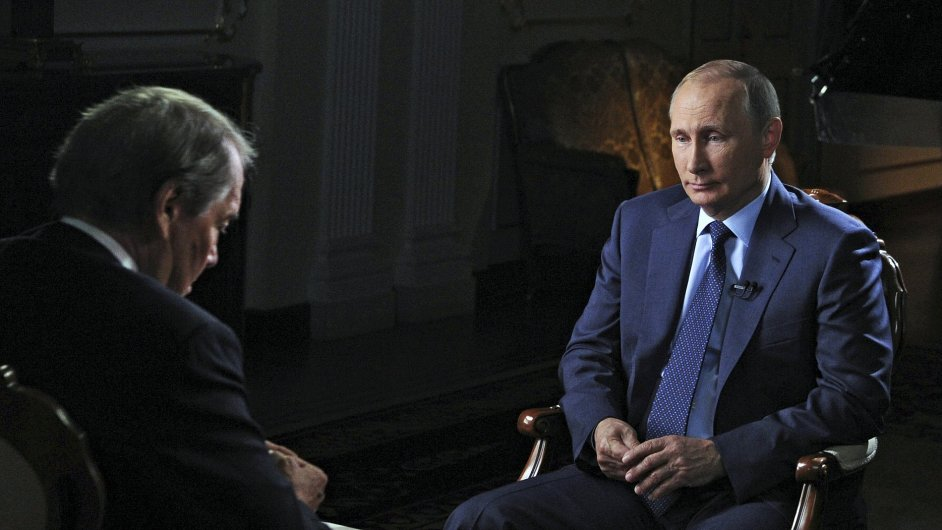 Putin poskytuje interview. Moska, Rusko.