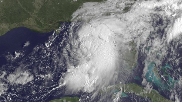 Satelitní snímek tropické bouře Hermine nad Mexickým zálivem.