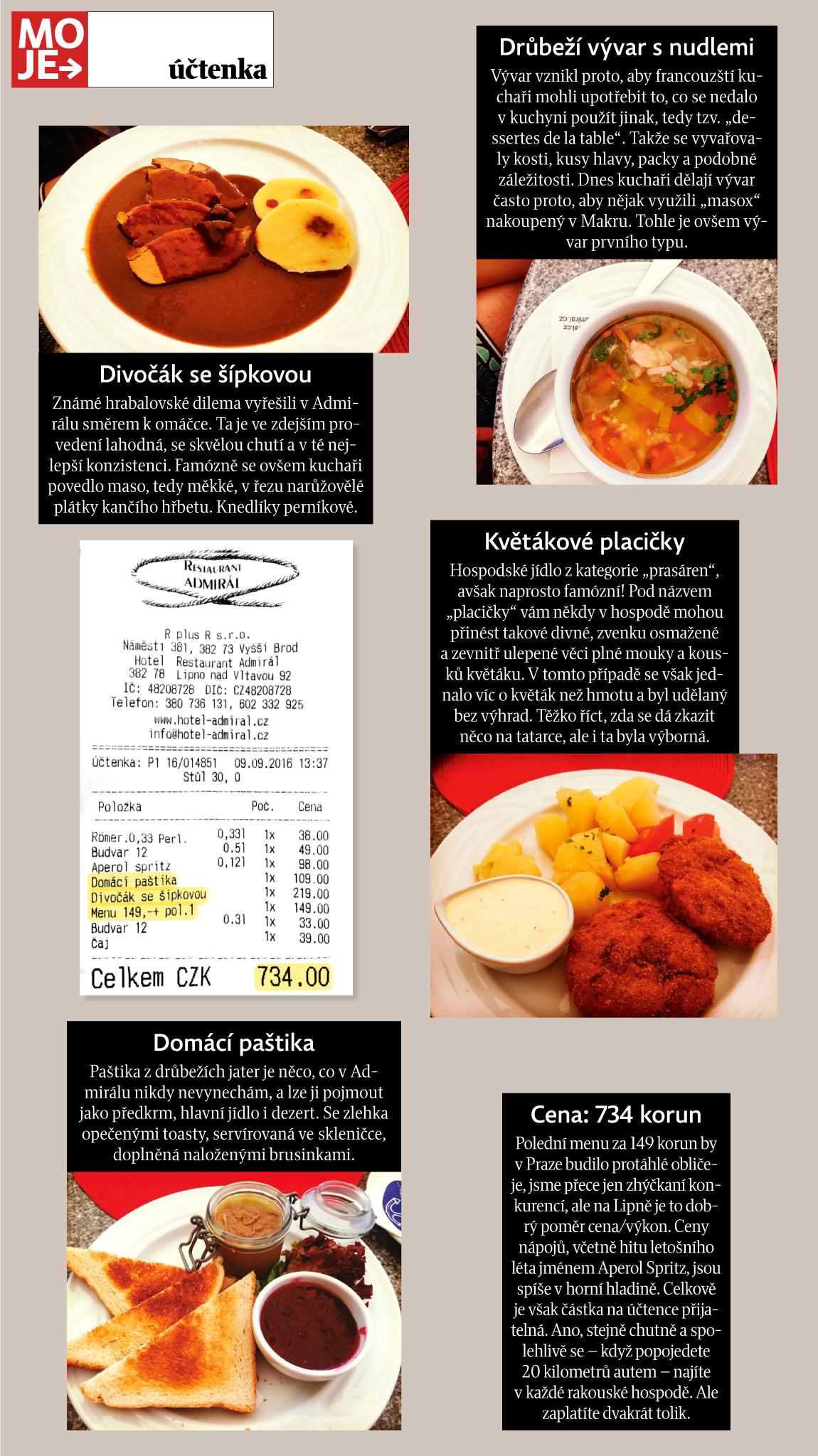 Moje Uctenka Domaci Kuchyne Hotel Restaurantu Admiral V Samem Srdci