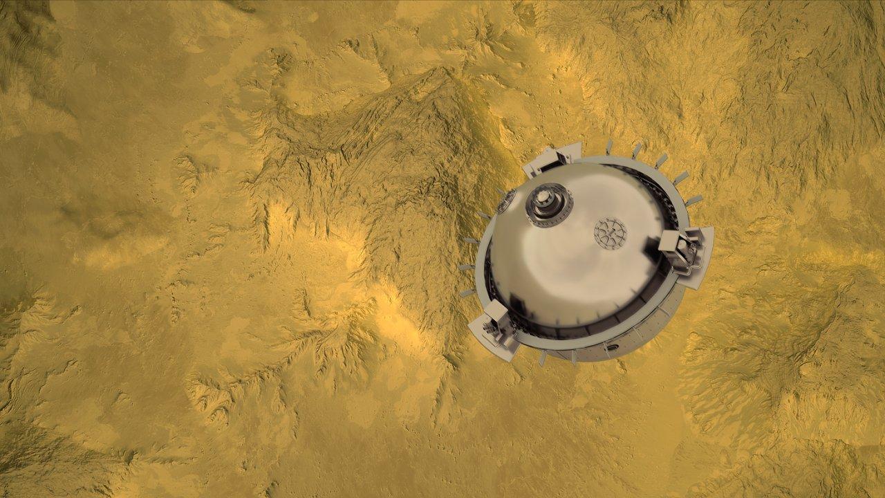 Takto by měl vypadat sestup americké sondy DAVINCI+ k povrchu Venuše (vizualizace CI Labs Michael Lentz a kolektiv)