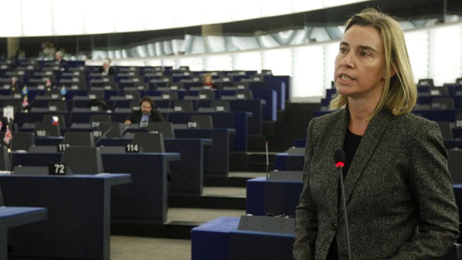 Šéfka evropské diplomacie Federica Mogherini mluvila v parlamentu o uznání Palestiny na konci listopadu.