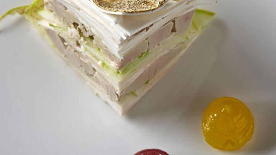 Husí játra marinovaná ve verjusu, se žampiony a jablky Granny Smith