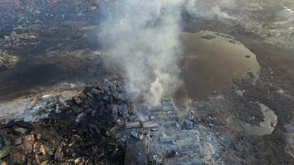 Průmyslová zóna v Tchien-ťinu, kde v srpnu vybuchl sklad s chemikáliemi.