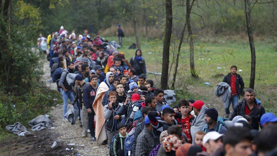 Uprchlíci pochodují přes hranici Maďarska a Chorvatska.