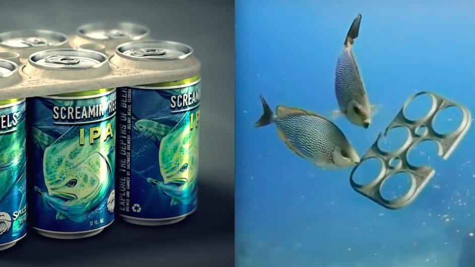Floridský pivovar Saltwater Brewery vytvořil jedlou alternativu k plastovým držákům na pivní plechovky.