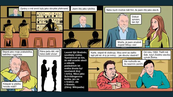 Další, prosím! Komiks Miloše Gašparce o nesmrtelnosti Karla Gotta. A s kým že se dal v nebeském baru do řeči?