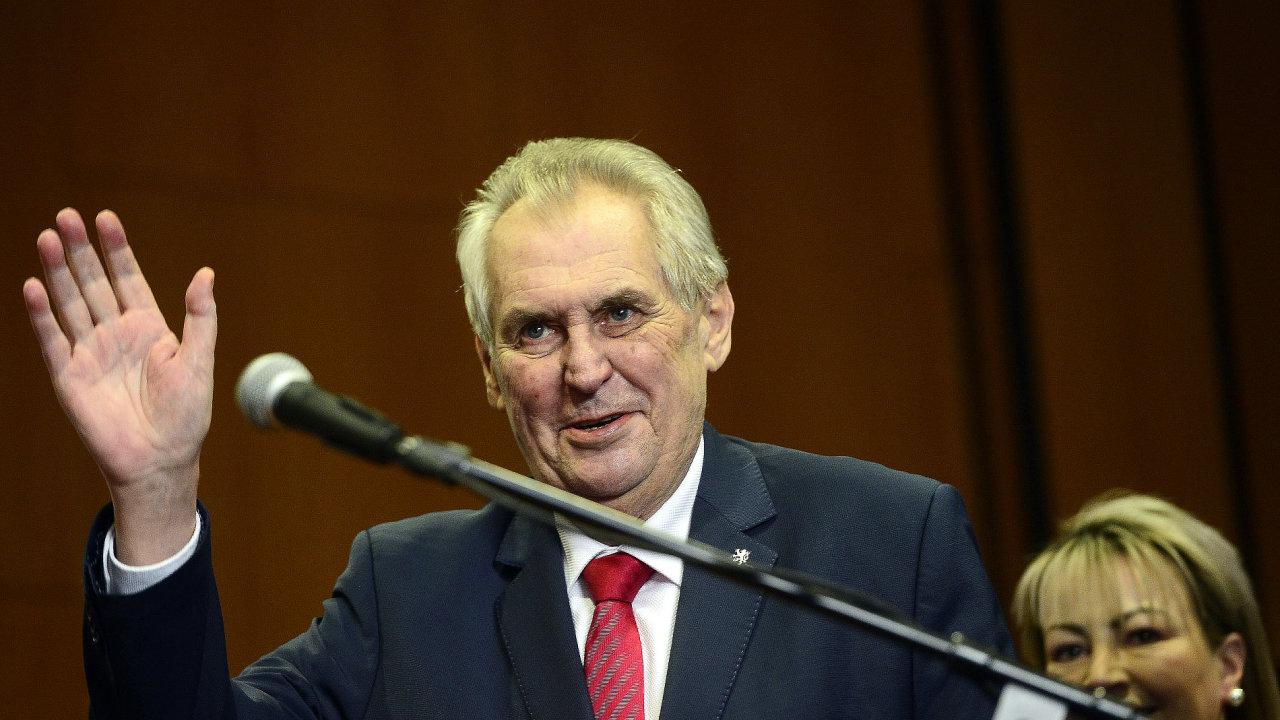 Prezident Miloš Zeman na tiskové konferenci ke svému znovuzvolení.
