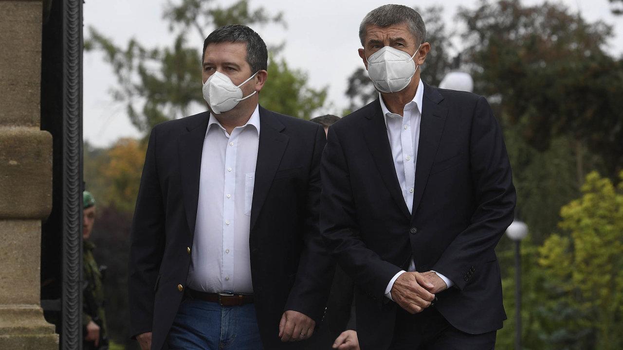 Koaliční lídři Jan Hamáček a Andrej Babiš.