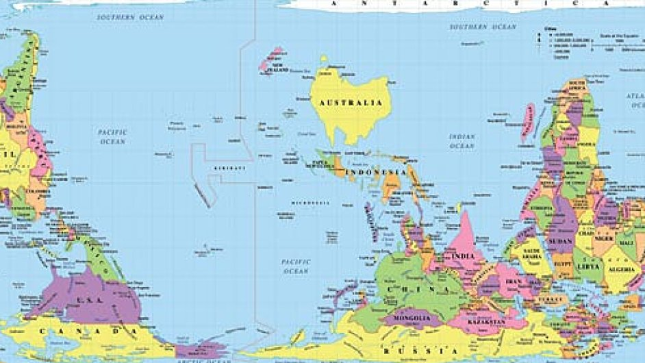 Mapa světa z pohledu Australana
