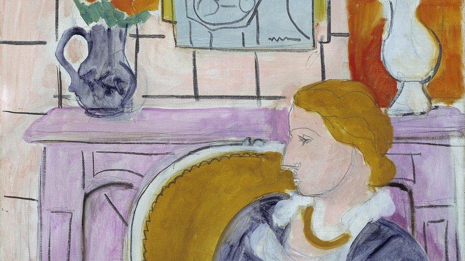 Žena v modrém před krbem od Henryho Matisse