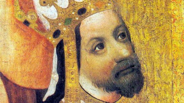 Karel IV. na detailu z Votivního obrazu Jana Očka z Vlašimi, který vznikl okolo roku 1371.