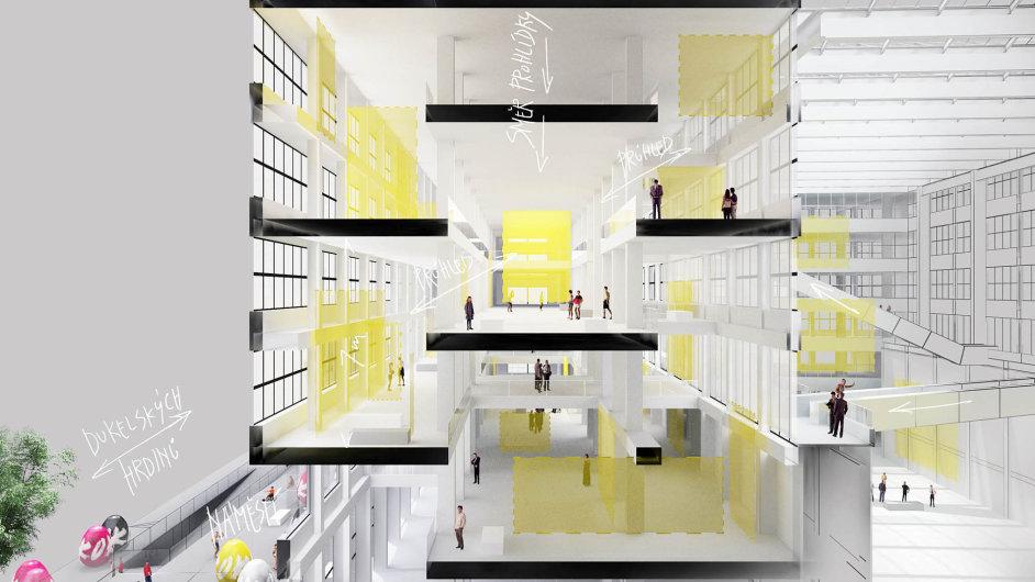 Vizualizace, kterou architektonický ateliér SGL Projekt zhotovil pro Národní galerii vrámci studie využitelnosti, ukazuje možné propojení pater ve Veletržním paláci.