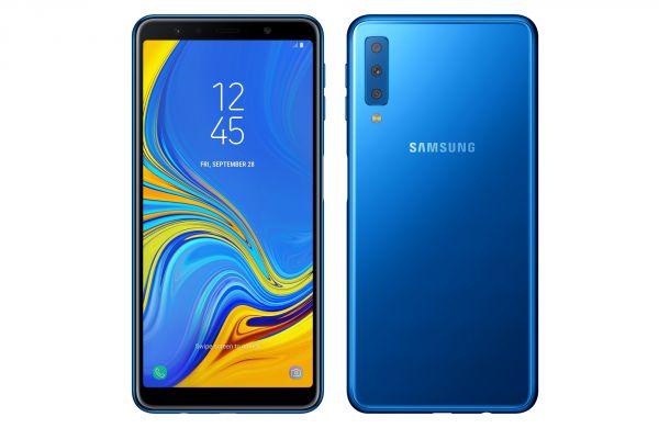 Samsung Galaxy A7 2018 v modré barvě