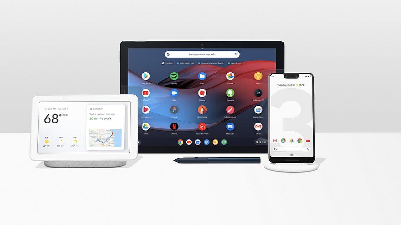 Celá rodina nových produktů od Googlu: Chytrý displej Home Hub, tablet Pixel Slate a telefon Pixel 3 XL s hlubokým výřezem v displeji