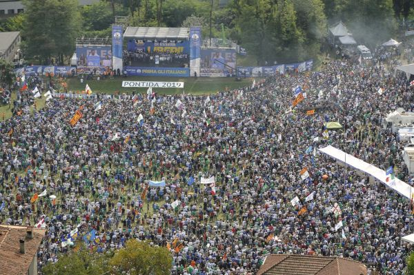 Matteo Savini's party supporters gather at the traditional Lega party rally in Pontida