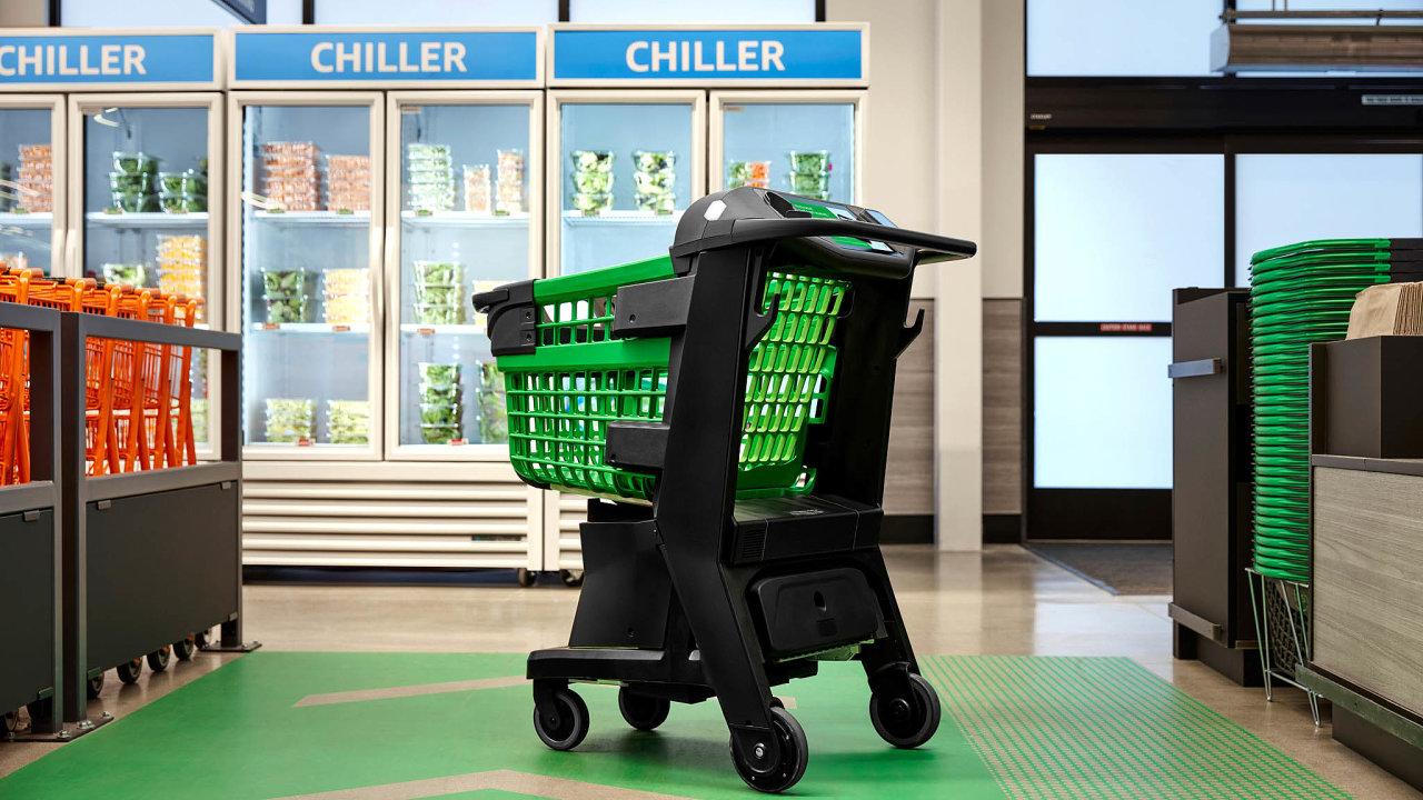 Chytrý vozík vypadá téměř stejně jako kterýkoliv jiný nákupní vozík vsupermarketech. Je jen trochu robustnější.