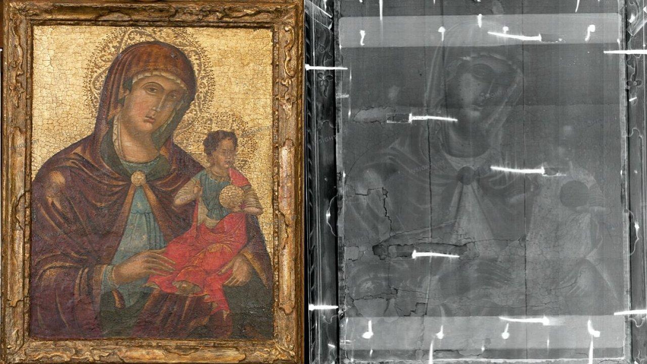 Madona s dítětem včetně rentgenového snímku