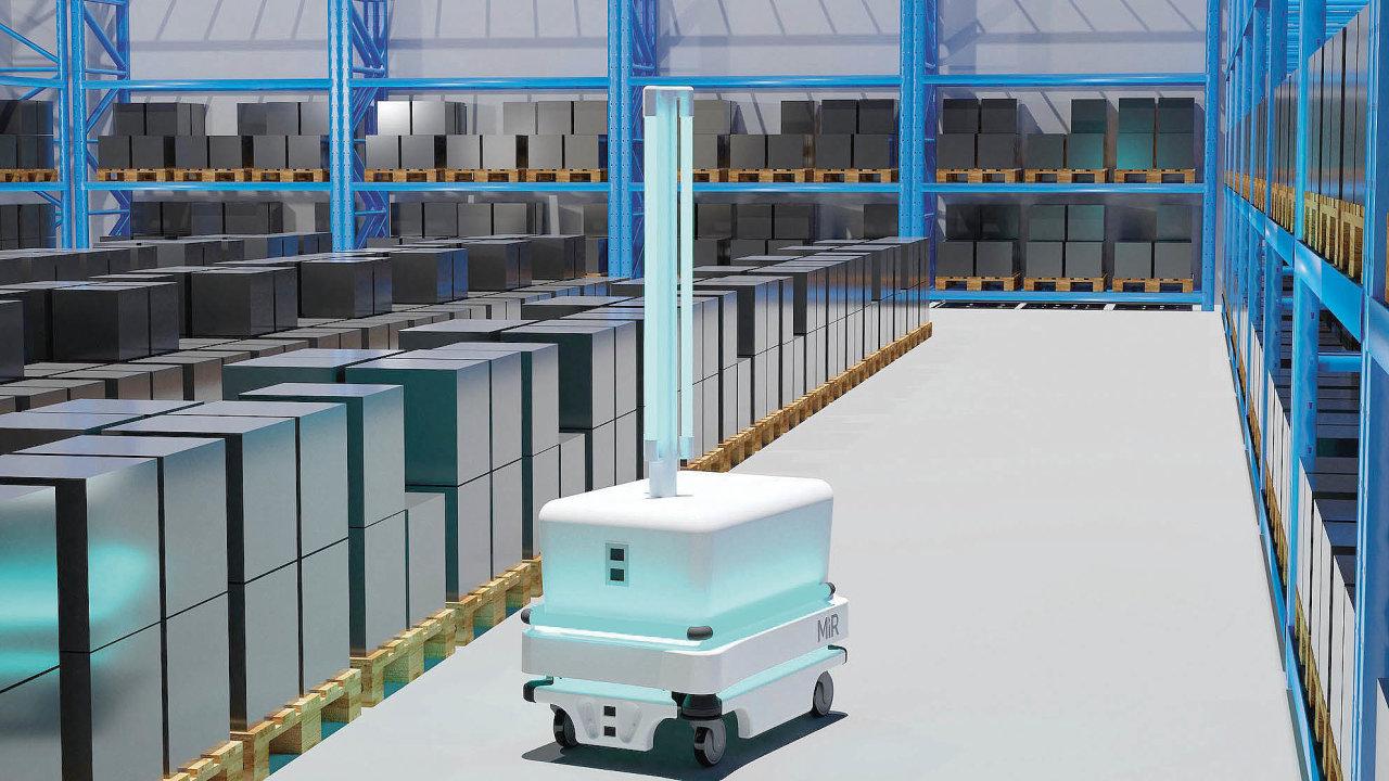 Čistič Viktor, robot určený kdezinfekci vzduchu apovrchů alikvidaci virů, bakterií, plísní adalších patogenů včetně covidu-19
