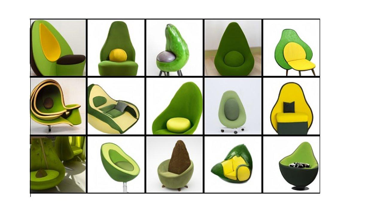 Nejde o fotografie reálných předmětů, nýbrž o předměty, které vytvořila umělá inteligence. Dostala příkaz vytvořit křeslo ve tvaru avokáda.