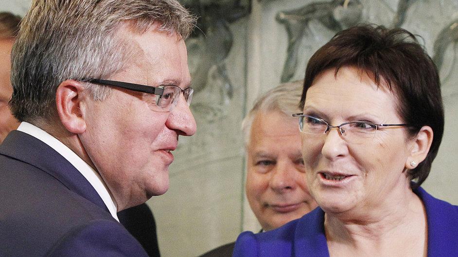 Šéfka dolní parlamentní komory Ewa Kopaczová s polským prezidentem Bronislawem Komorowským.