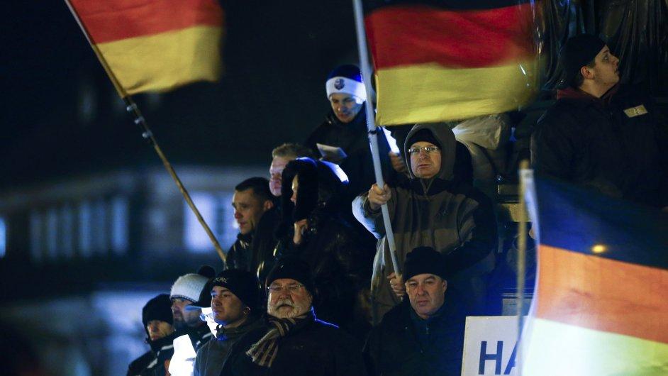 Protiislámská demonstrace hnutí Pegida.