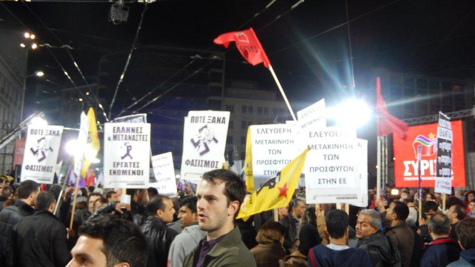 Čtvrteční demonstrace pořádaná hnutím Syriza.