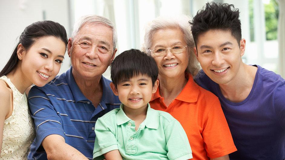 Spokojená čínská rodina. O druhé dítě nestojí.