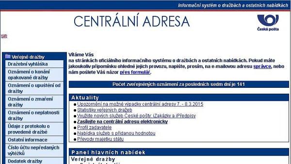Printscreen webu www.centralniadresa.cz