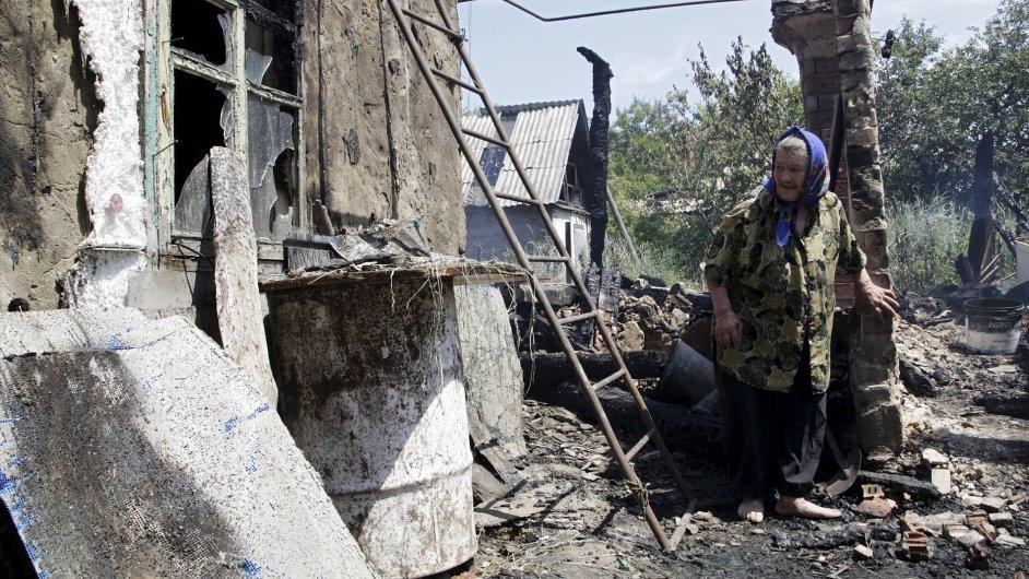 Starší žena, Doněck, Ukrajina.