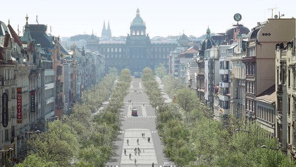 """Koncepce """"zelenějšího"""" Václavského náměstí."""