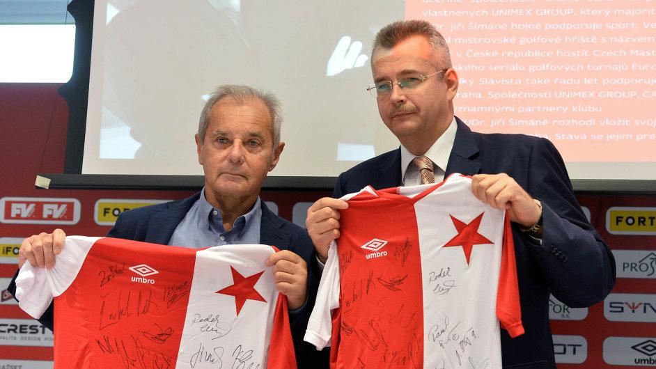 Než soupeřit s CEFC, kterou ve Slavii zastupuje Jaroslav Tvrdík (vpravo), Jiří Šimáně (vlevo) raději složil post předsedy představenstva.