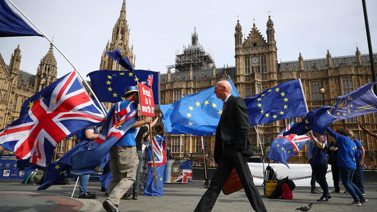 Prostranství před britským parlamentem v Londýně je místem, kde se často scházejí odpůrci brexitu.