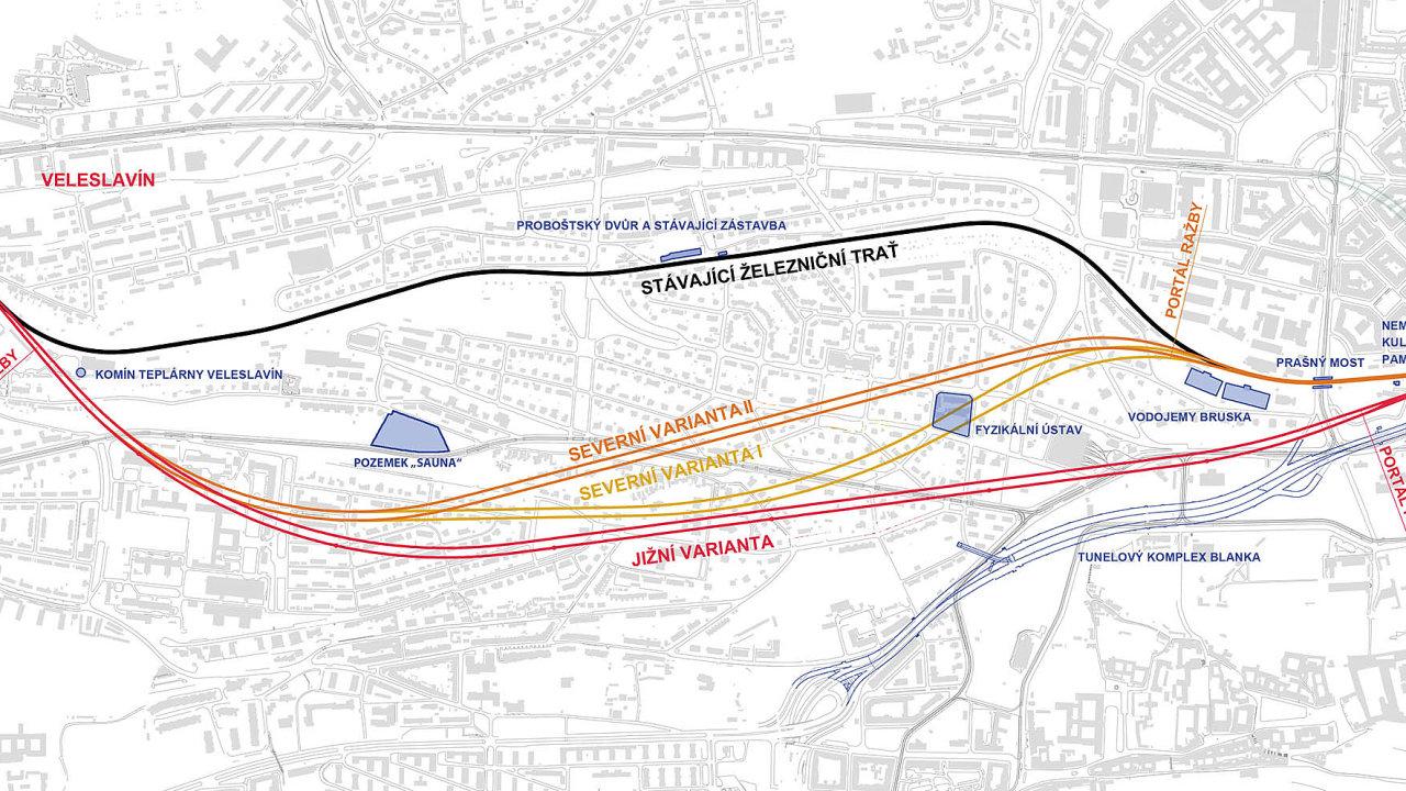 Plánovaná trasa rychlodráhy naúzemí Prahy 6 se několikrát změnila kvůli námitkám dotčených obyvatel.