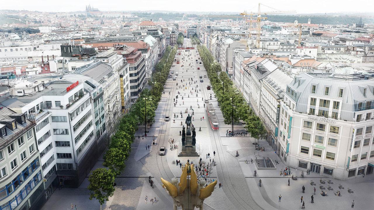 Plán pražského primátora Zdeňka Hřiba nanávrat tramvají dohorní části Václavského náměstí může zkolabovat. Současný krach koalice vPraze 1 situaci mění.