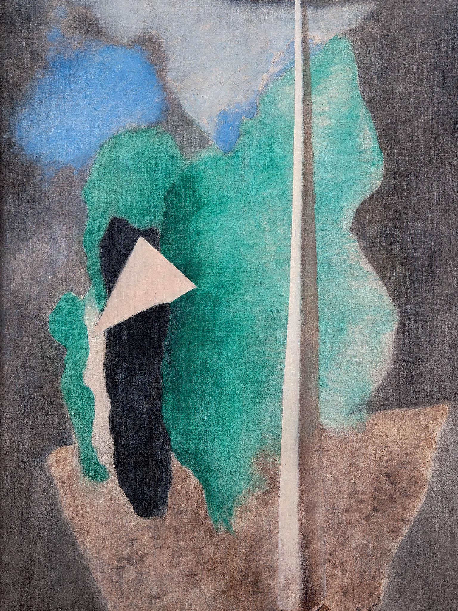 Obraz Josefa Šímy Krajina s trojúhelníkem je k vidění na výstavě Devětsilu.