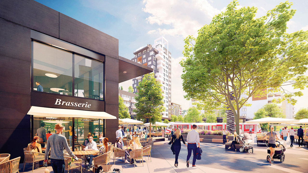 Vizualizacenového barrandovského náměstí svýstavbou, jejíž součástíbude iprvní čistě nájemní bytový dům, který developer Finep plánuje dokončit vroce 2021.