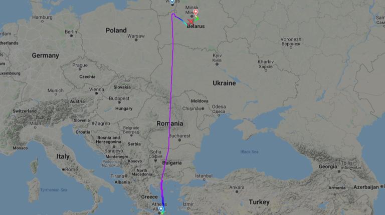 Trasa uneseného letadla.