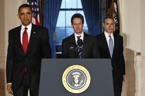 Americký prezident Barack Obama a ministr financí Timothy Geithner